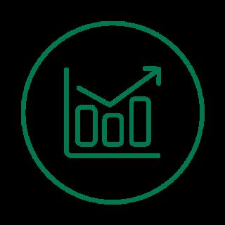 Vihreäviivainen ikoni, jossa laskeva ja nouseva nuoli sekä pylväsdiagrammi