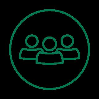 vihreäviivainen ikoni, jossa kolme henkilöä rinnakkain