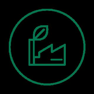 vihreäviivainen ikoni tehtaasta, jonka piipusta tulee lehti