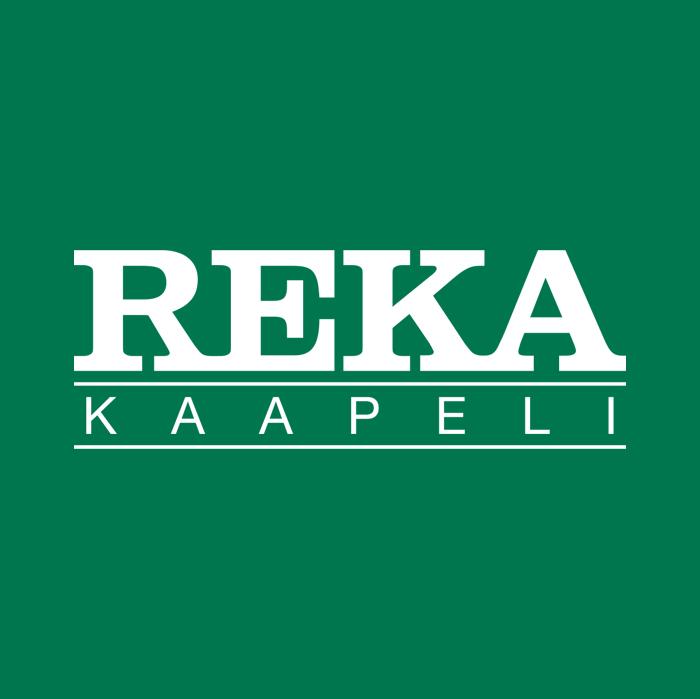Reka Kaapelin valkoinen logo vihreällä pohjalla