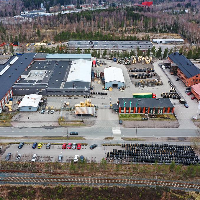 Kuvassa ilmakuva Hyvinkään tehtaasta