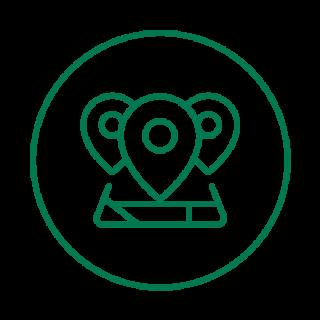 vihreäviivainen ikoni, jossa kartta ja kolme karttatäppää