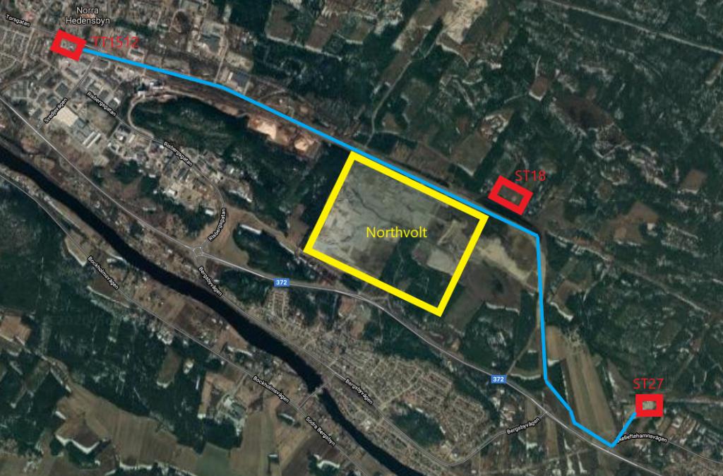 Google Maps satellitfoton av Northvolt